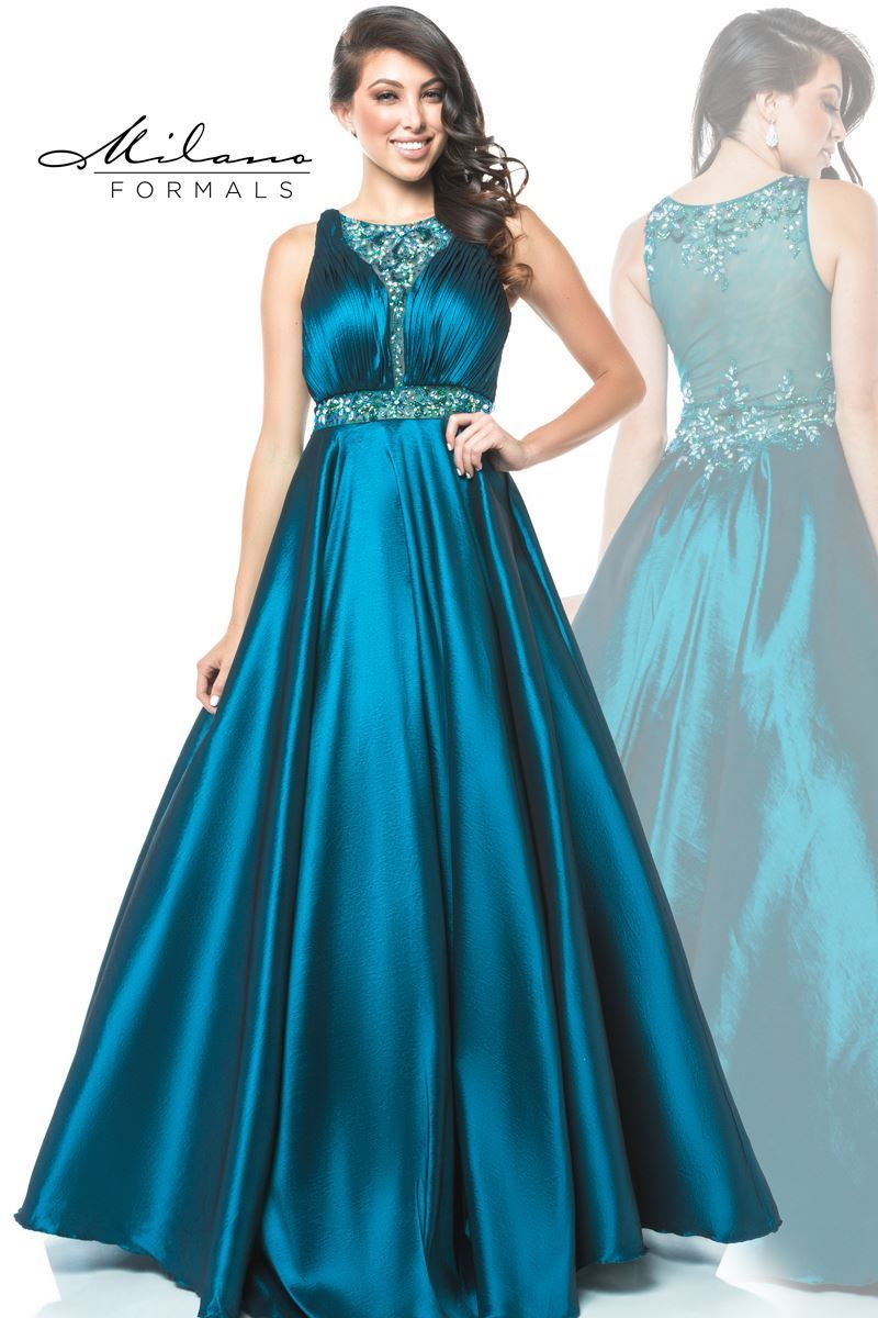 This teal ballgown from Milano Formals is sure to make you shine ...