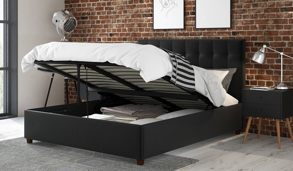 135cm Ottoman Bed Frame Alexis Grey Velvet Ottoman bed