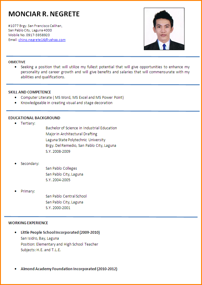 Resume Formal Format Example Malaysia Cover Letter And Samples