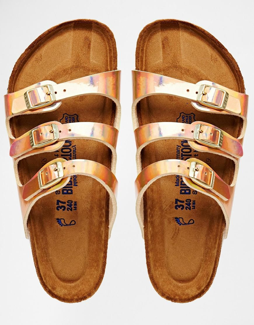f49e7660afc Birkenstock Florida Triple Strap Copper Slider Flat Sandals