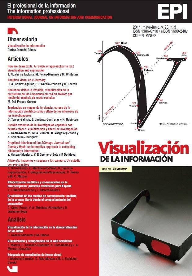 Monográfico sobre Visualización de la información en la revista El profesional de la información, vol. 23, núm. 3, mayo-junio 2014. http://www.elprofesionaldelainformacion.com/