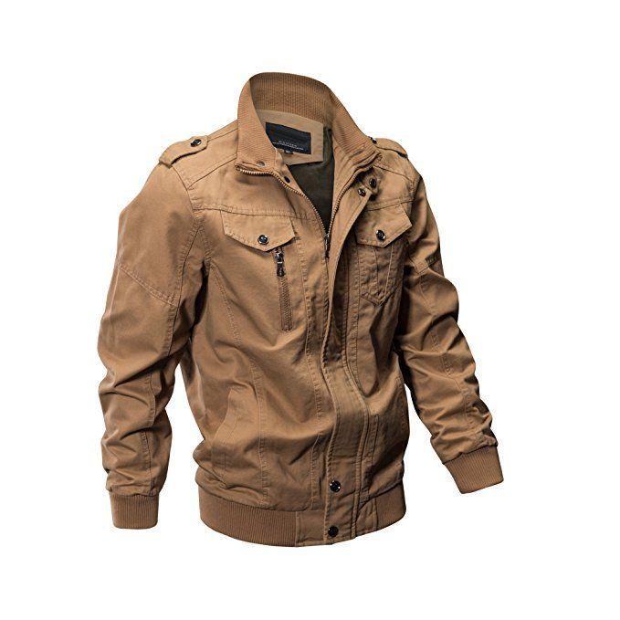 eb5468d77e ZooYung Men's Casual Winter Cotton Military Jackets Outdoor Coat windproof  windbreaker(2701-Khaki-M)