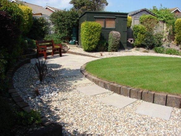 Maintenance Free Garden Ideas Railway Sleepers Encircle New Turf And Flower Bed 585x439