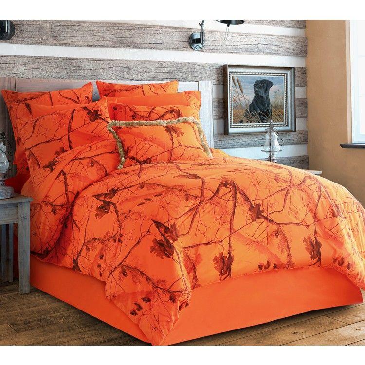 Realtree Ap Blaze Camo Bedding Set, Orange Camo Queen Bedding