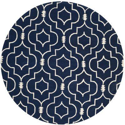 Varick Gallery Wilkin Dark Blue & Ivory Area Rug Rug Size: Round 7'