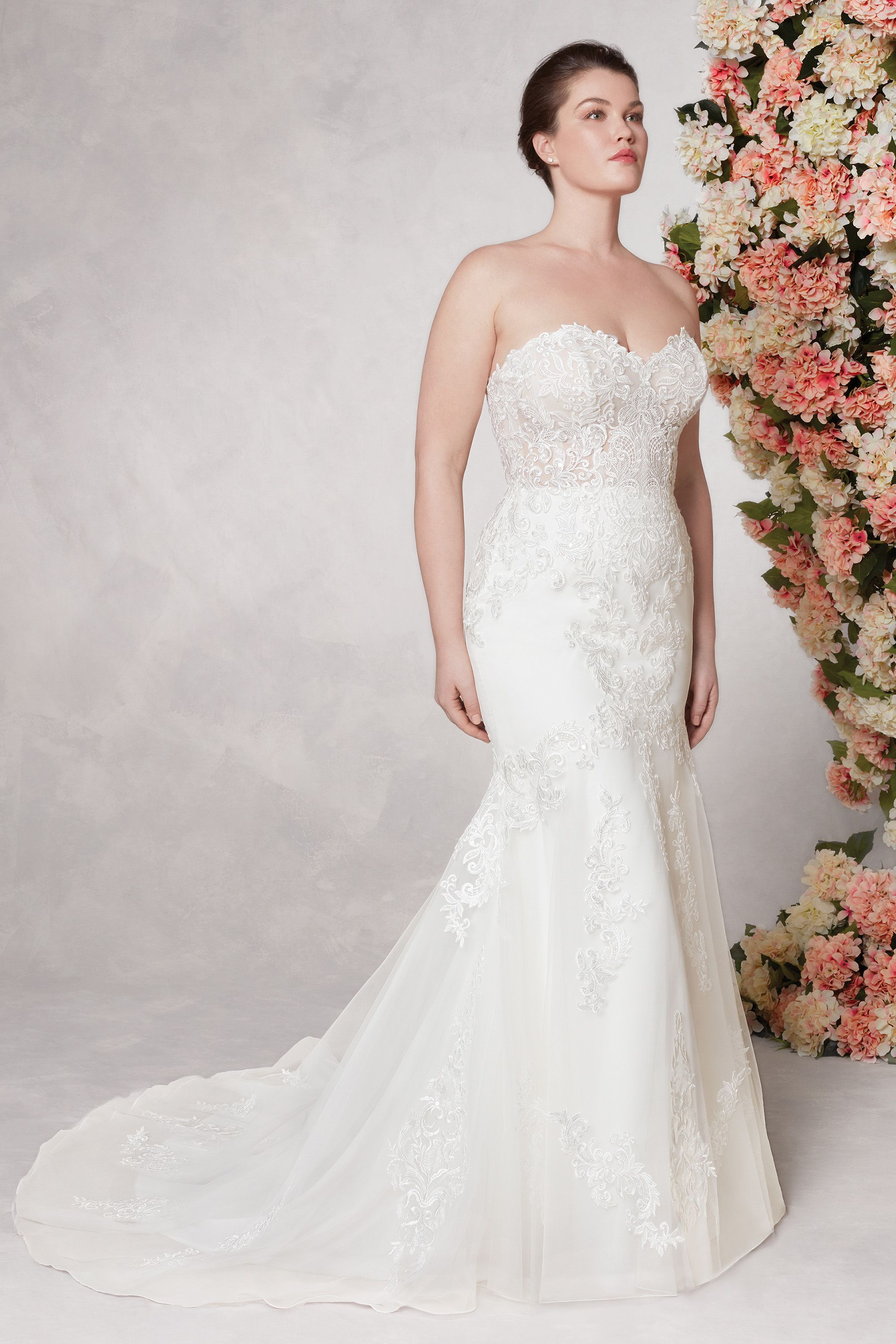 Style 44117 Strapless Mermaid Gown With Organza And Venice Lace Sincerity Bridal Fit And Flare Wedding Dress Wedding Dresses Sincerity Bridal [ 3000 x 2000 Pixel ]