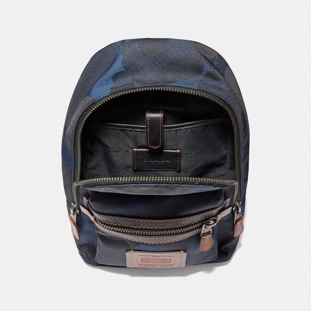 Coach academy pack in cordura fabric with wild beast print denim black copper finish
