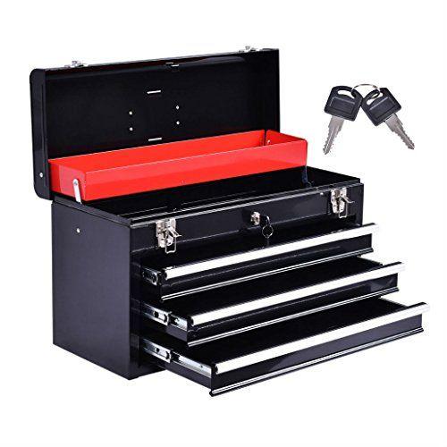 New Portable Tool Chest Box Storage Cabinet Garage Mechanic Organizer 3 Drawers
