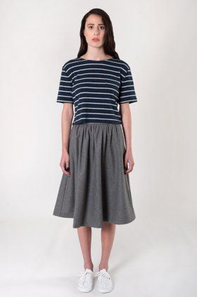The peggy skirt is made from a medium weight wool/viscose blend. High waisted and gathered for a voluminous silhouette. The skirt is fully lined, and features a rear invisible zip fastening and large concealed side pockets.   lauren is a size 8-10, 176cm tall and wears a size s.   * fits true to size