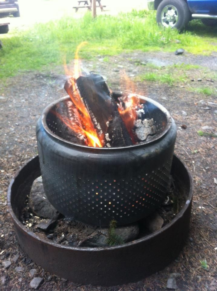 The Best Portable Fire Pit An Old Wash Machine Tub If Removed Carefully Without Scratching The Porcelain Liner It Fire Pit Backyard Fire Portable Fire Pits
