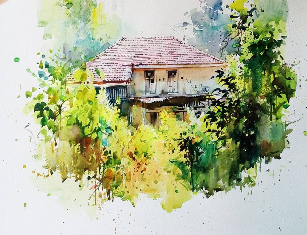Milind Mulick Watercolor Landscape Paintings Watercolor Scenery