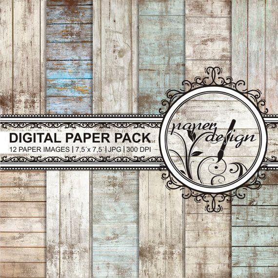 Shabby chic digital paper mit rustikalen Holz von Stilboxx auf Etsy