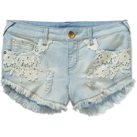No Boundaries Juniors Denim Shorts with Lace Pocket | Shorts ...