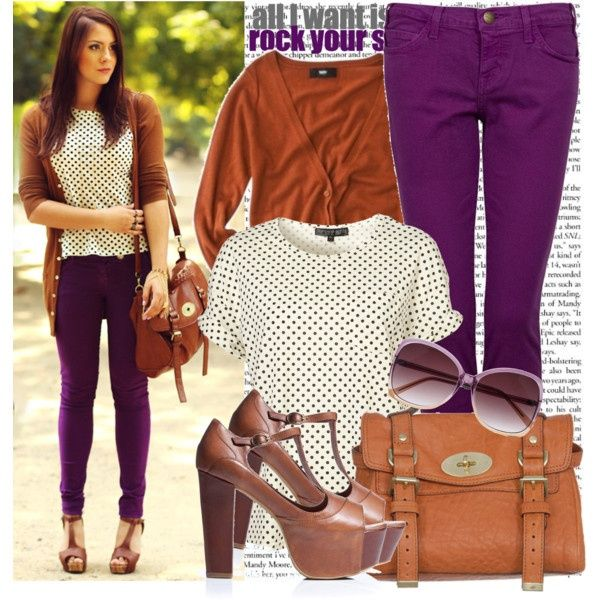 Skinny Jeans Outfits With Purple Pants