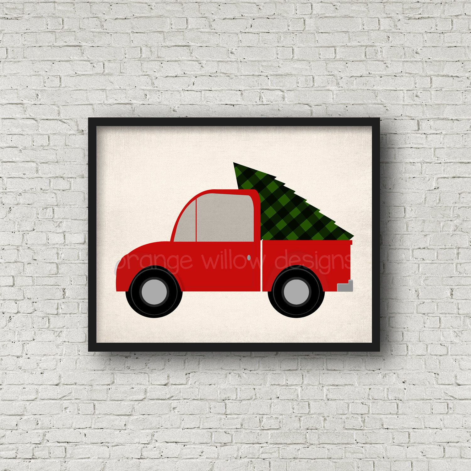 Vintage rustic old truck with christmas tree art printable x