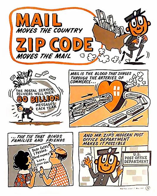 1963 introducing mr. zip! Fun mail