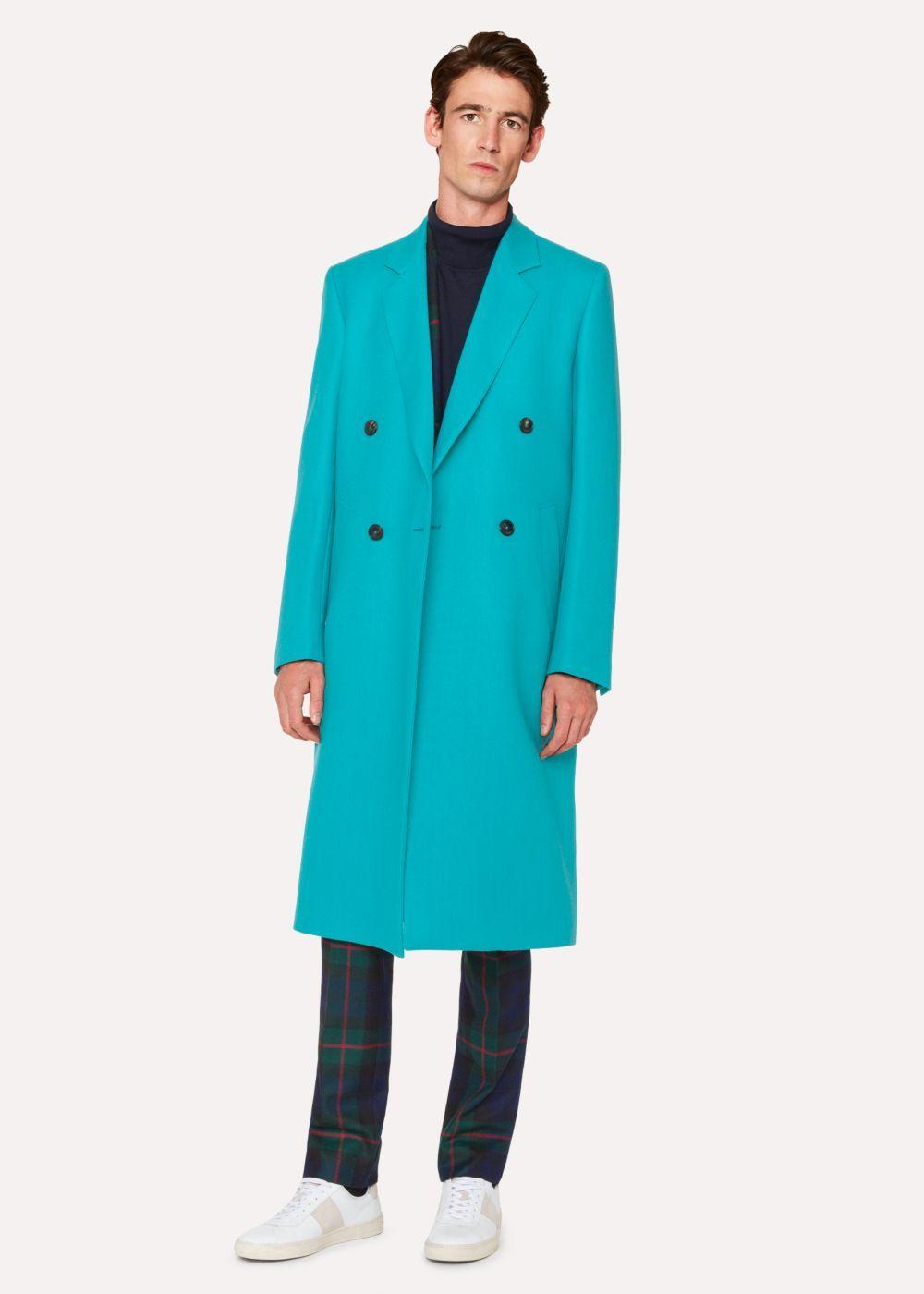 Men S Turquoise Double Breasted Wool Overcoat Paul Smith Designer Jackets For Men Overcoats Jacket Design [ 1400 x 1000 Pixel ]