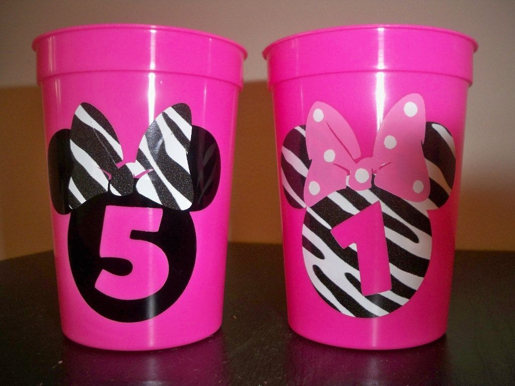 MINNIE MOUSE BIRTHDAY party zebra print favor cups set of 5