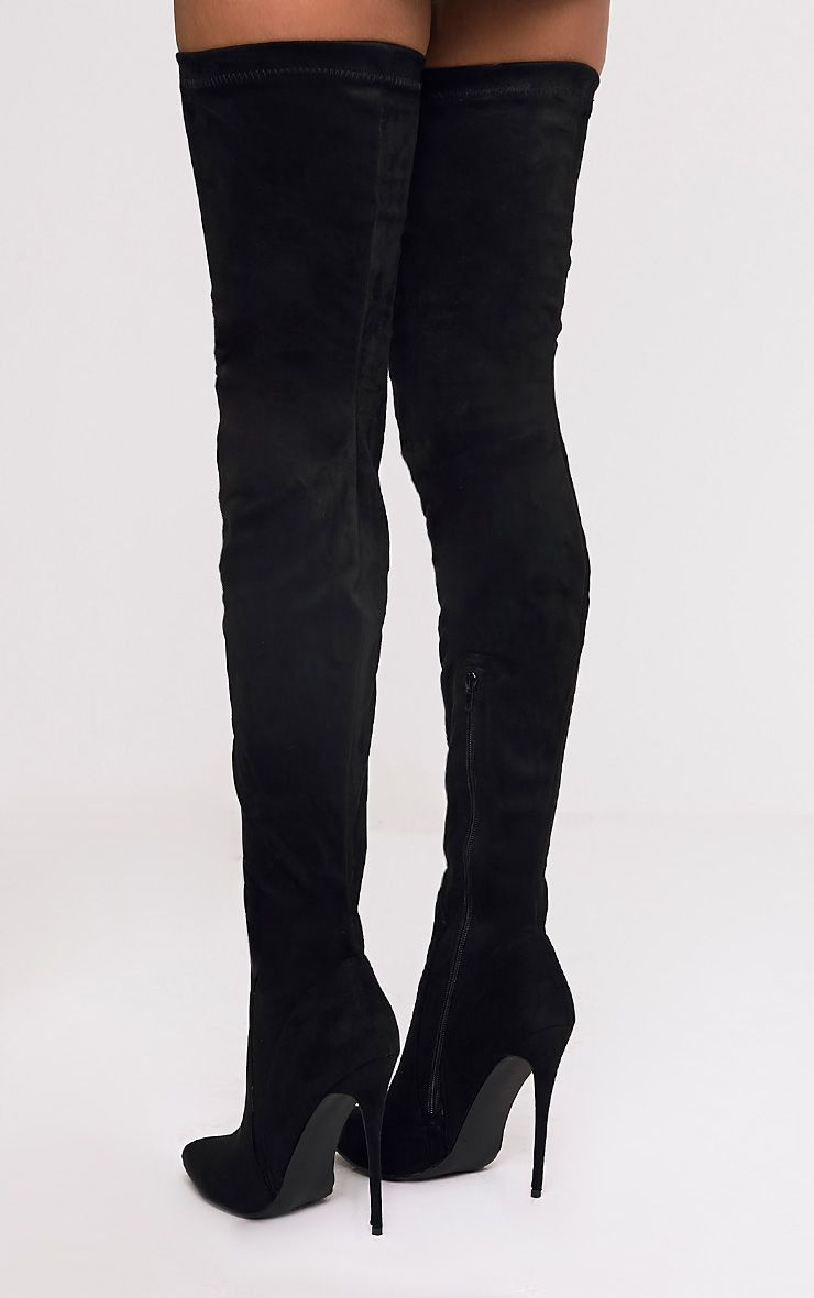 Emmi Black Faux Suede Extreme Thigh High Heeled Boots Thigh High Heels Thigh High Boots Heels High Heel Boots