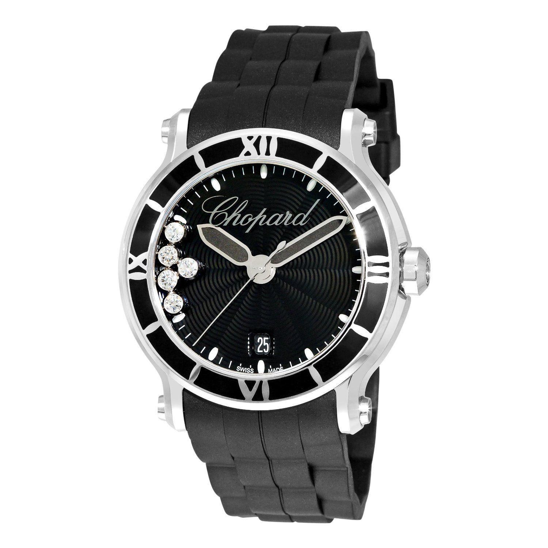 Chopard Women Happy Sport Round Black Waved Dial Watch