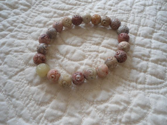 Variegated Round Jasper Beads for Energy Tranquility Protection Boho Hippie Gypsy Spiritual Courage and Absorbs negative energy for stress by LandofBridget on Etsy