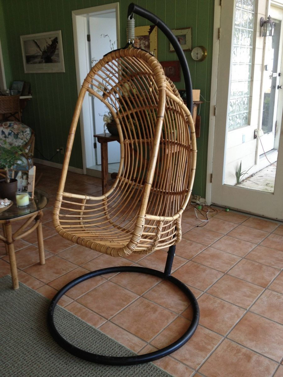 Mid Century Vintage Rattan Bamboo Hanging Chair With Original