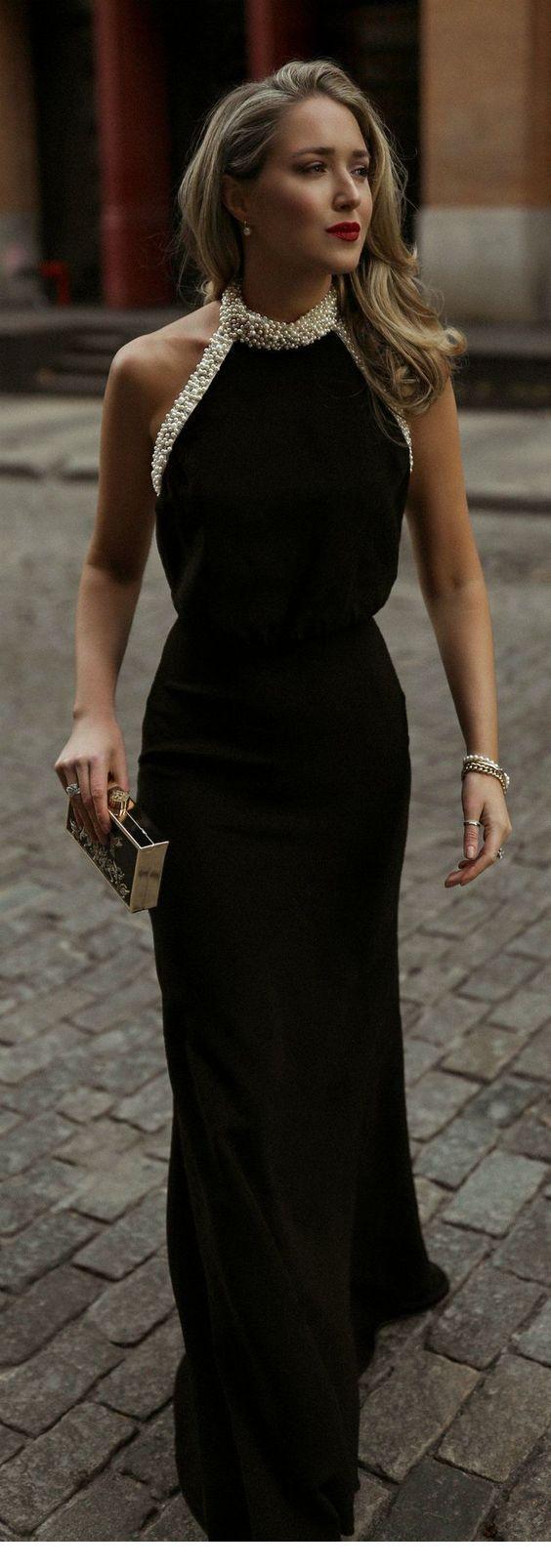 Classy Long Black Dress With Gold Accessories Long Black Dress Gala Dresses Fashion [ 1606 x 564 Pixel ]