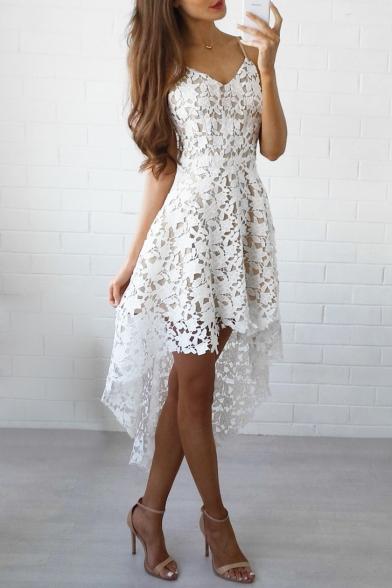 white lace asymmetrical dress