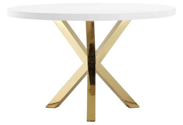 Remi 47 Round Dining Table White Gold Dining Table Gold Gold