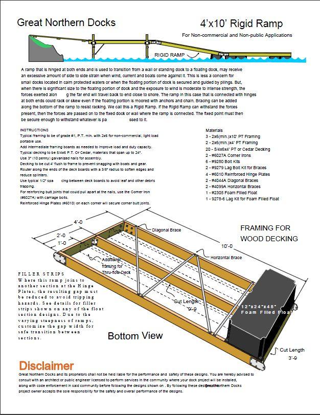 Rigid Ramp Floating Dock Section Plan 4'x10' - Boat Docks ...