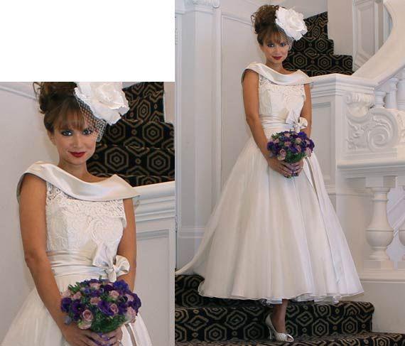 50s Dress Short Wedding Dress Tea Length Wedding Dress Bridal Gowns