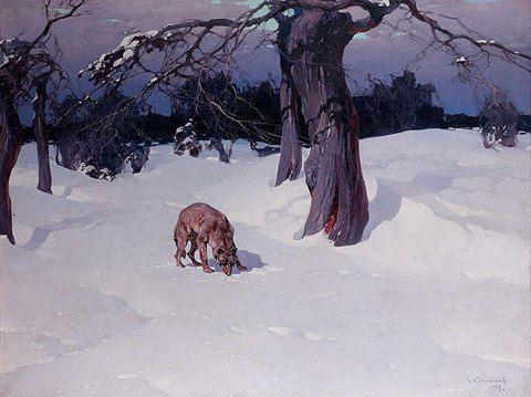 Wolf in the snowy clearing by Stepan Feodorovich kolesnikov (1879-1955)