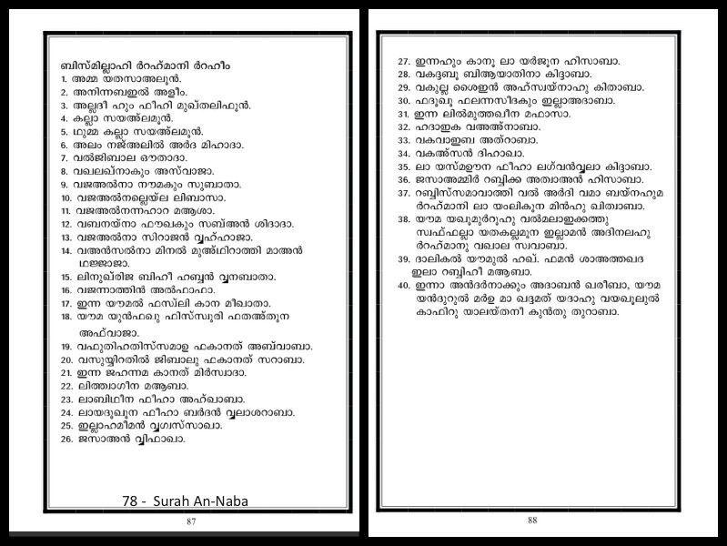 Quran Malayalam Transliteration: Surah 78  An-Naba