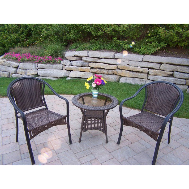 Outdoor Oakland Living Tuscany All Weather Wicker Patio Bistro Set    90079 C