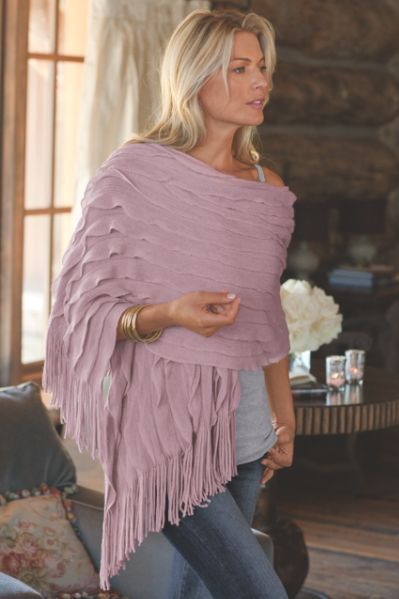 Tres Chic Shawl - Ruffled Shawl, Ultra-soft, Fringe | Soft Surroundings. Love this in the mauve color