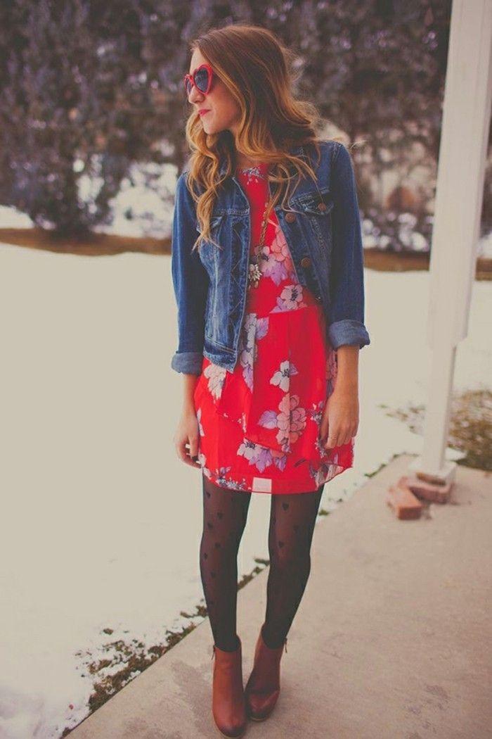 Rotes kleid kombinieren winter