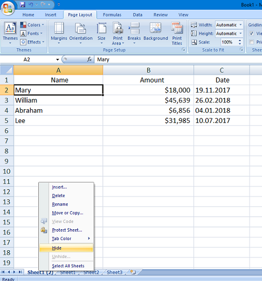 worksheet Excel