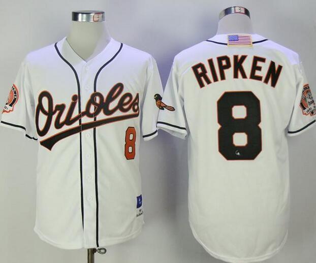 ad845f73aea MLB Baltimore Orioles 8 Cal Ripken Throwback White Cool Base Baseball  Jerseys
