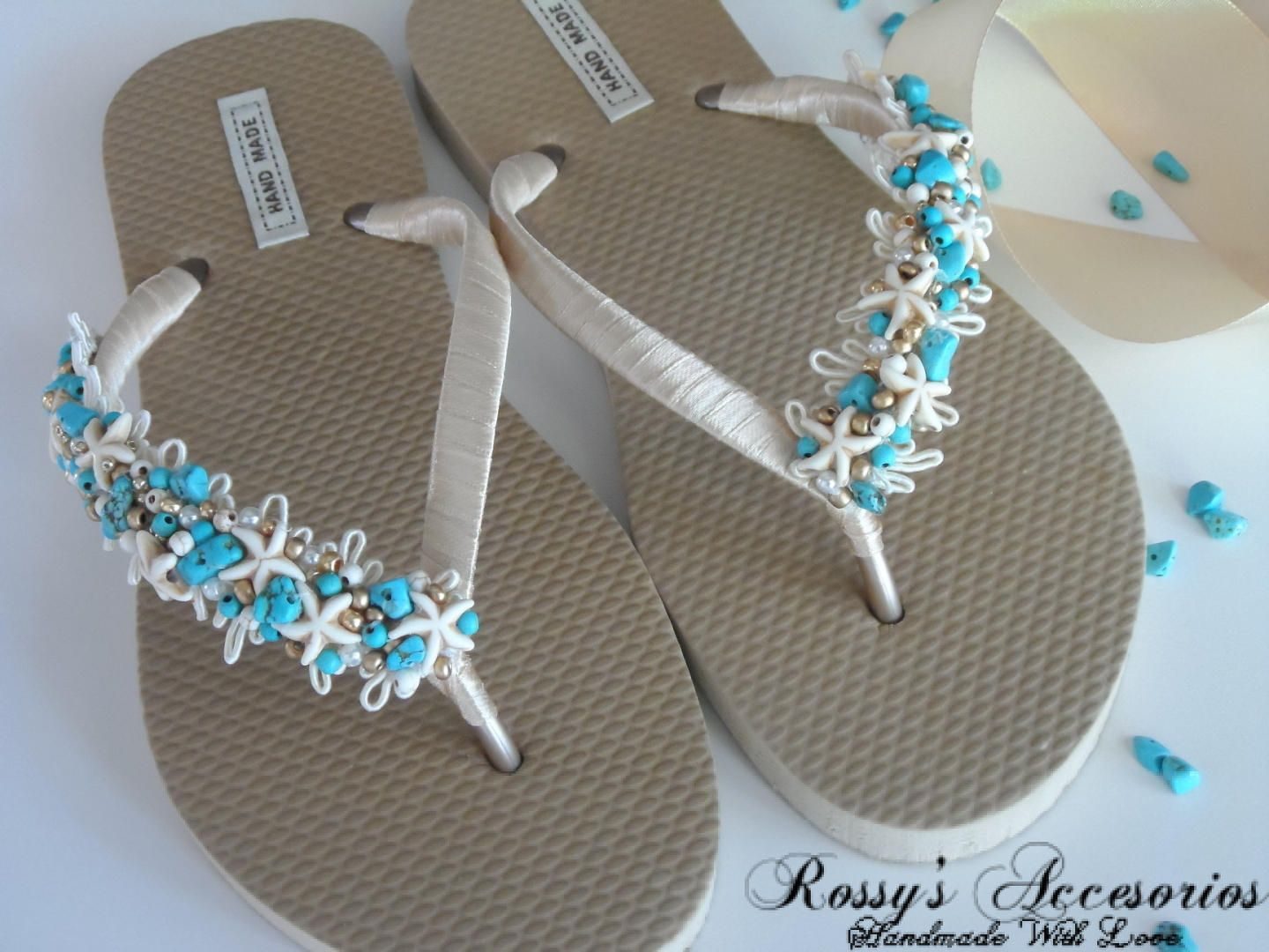 e609298ad3009f Natural Turquoise Stone Gold Flip Flops.  Beach Wedding Flip Flops   Starfish and turquoise Pearls Flip Flops   Wedding Party   Bride Gift .