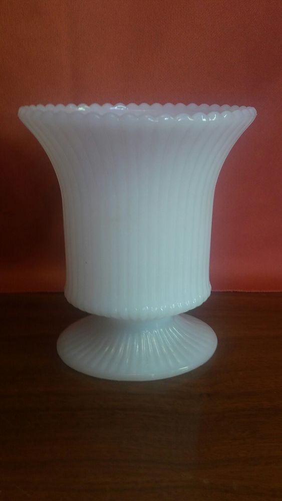 Vintage E O Brody Co M 4000 White Milk Glass Vase Ribbed 5 Inches