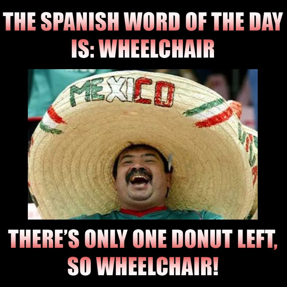 The Spanish Word Of The Day Is Wheelchair. Sombrero Man
