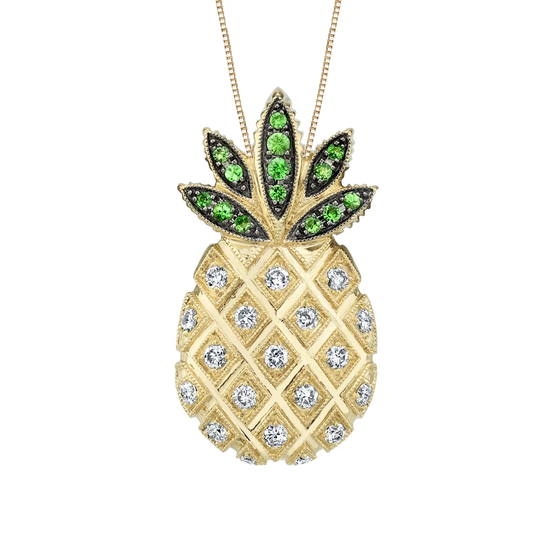 14k Yellow Gold Pineapple Necklace With Diamonds And Tsavorites Kitsinian Jewelers Pineapple Necklace Gold Pineapple Necklace Gold Pineapple