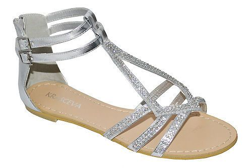 3cec47406484 NEW WOMENS SILVER WEDDING PROM PARTY DIAMANTE GLADIATOR FLAT SANDALS SHOES