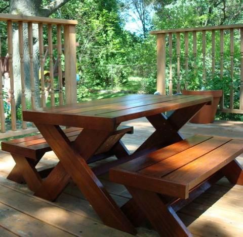 Build A Modern Kids Picnic Table, Or X Benches Picnic Table Plan Ana White