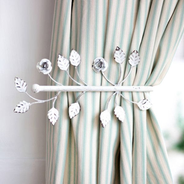 Dibor Antique White Leaf Curtain Hold Back 25 Liked On Polyvore Featuring Home Home Decor Window Treatments Cur Leaf Curtains Stylish Curtains Curtains