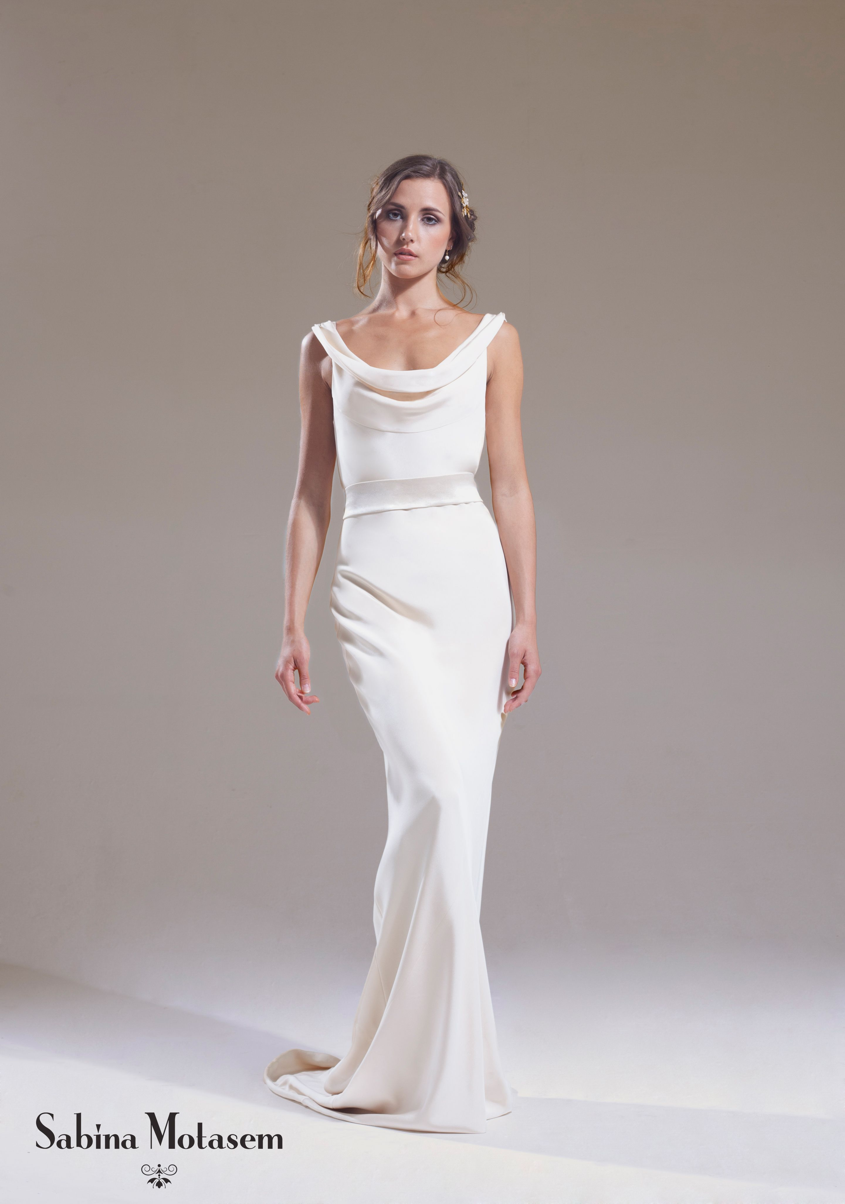 The josephine dress sabina motasem a cowl neck for Satin cowl neck wedding dress