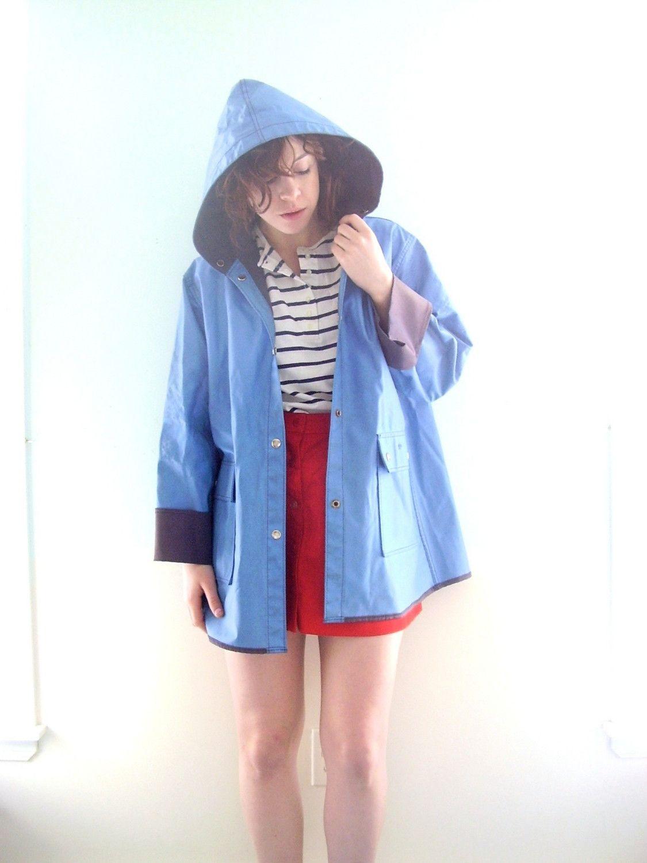 retro raincoat | Vintage SAILBOAT Blue VINYL Hooded ...