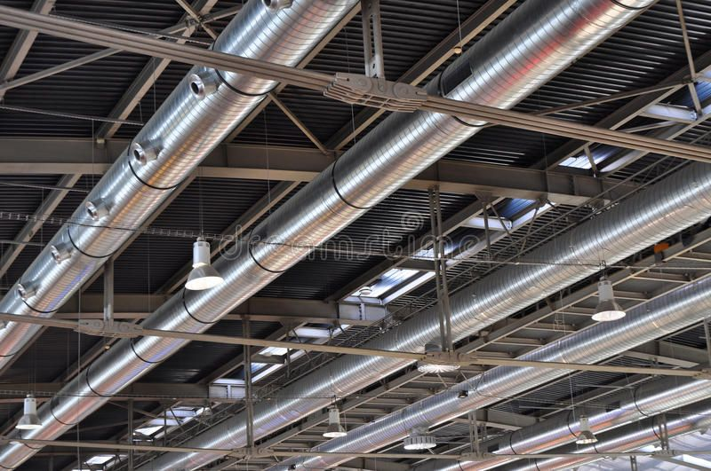 Industrial Tube Air Conditioning Background Industrial Steel