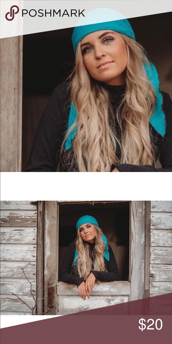 fca3c5a5435eb Turquoise Aqua Hair Wrap Head Scarf ❤ Shades of blue tie dye hair scarf ❤