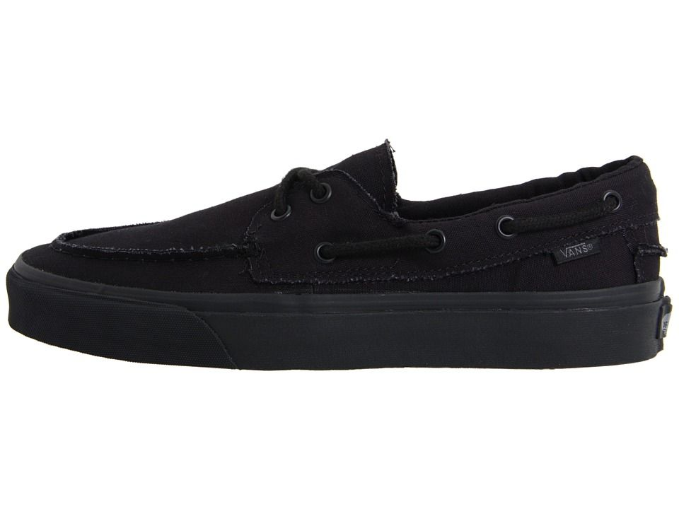 vans boat shoes all black